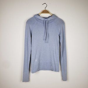Athleta Light Blue Gray Compression Hoodie Shirt